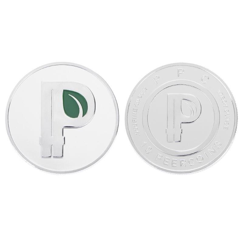 Letra P, moneda, hojas verdes, letras BTC, moneda conmemorativa especial de Bitcoin