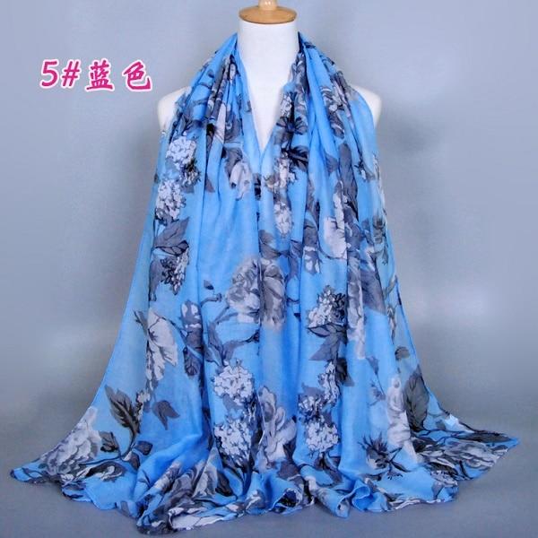 1pc Printed Cotton Islam Hijabs Women Casual Long Scarf Anti-uv Muslim Hijab Shawl Arab Wrap Headwear Headscarf 180x90cm