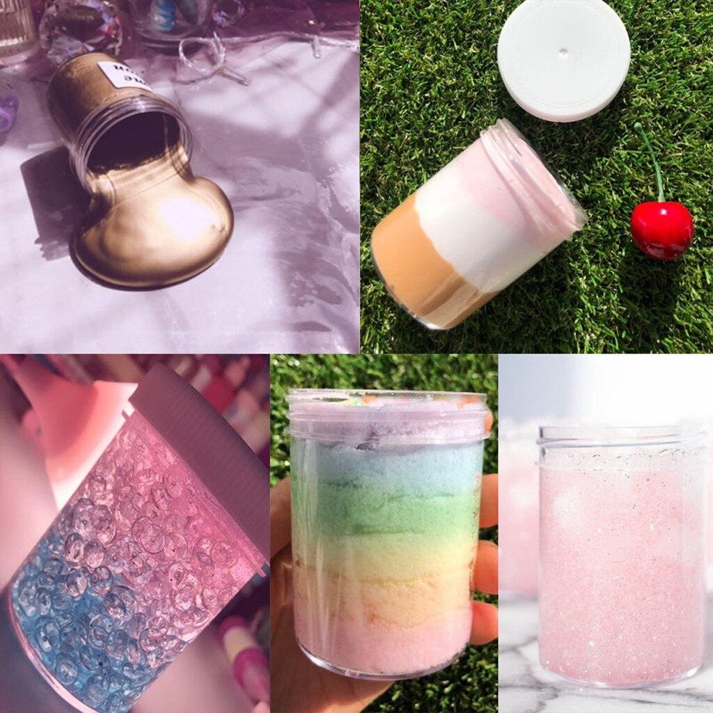 Recipiente para Playdough Slime, frasco de maquillaje de arcilla, tarro cosmético, botella de crema, caja de uñas de 120 Ml, tapa redonda blanca, jarra transparente #10