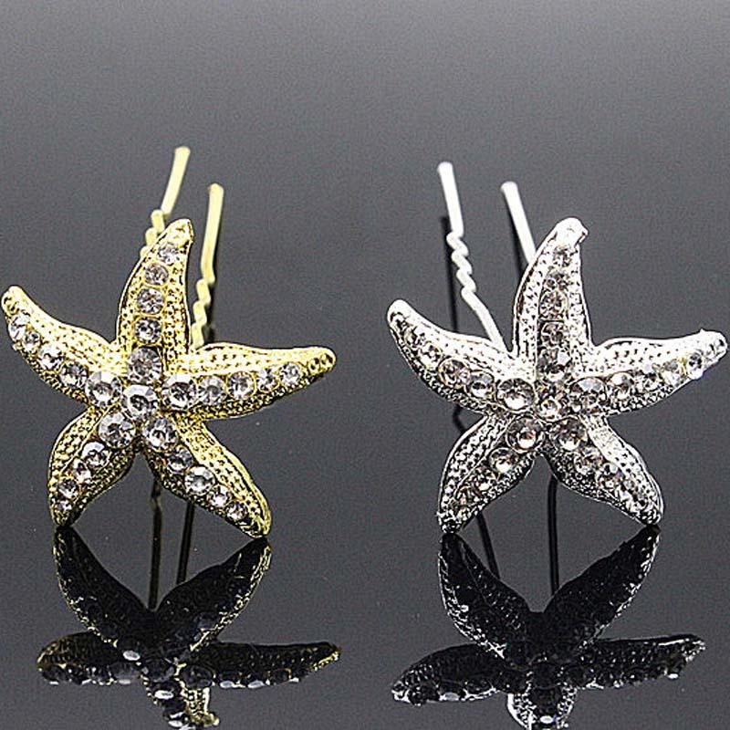 10 teile/los Hochzeit Braut Brautjungfer Starfish Kristall Haar Pin Clips u pins haar Schmuck Party Strass Haarnadel frauen Haar