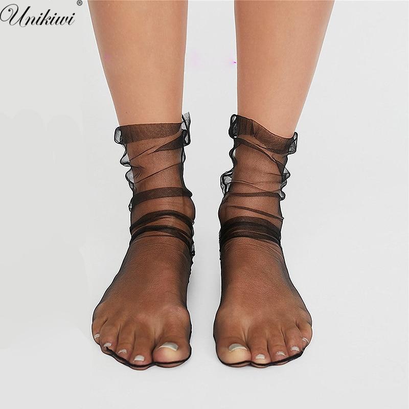 UNIKIWI. NOVEDAD mujer gasa transparente calcetines de malla. Medias de gasa ultrafinas para señoras Sexy Medias de gasa medias femeninas Meias.12 colores
