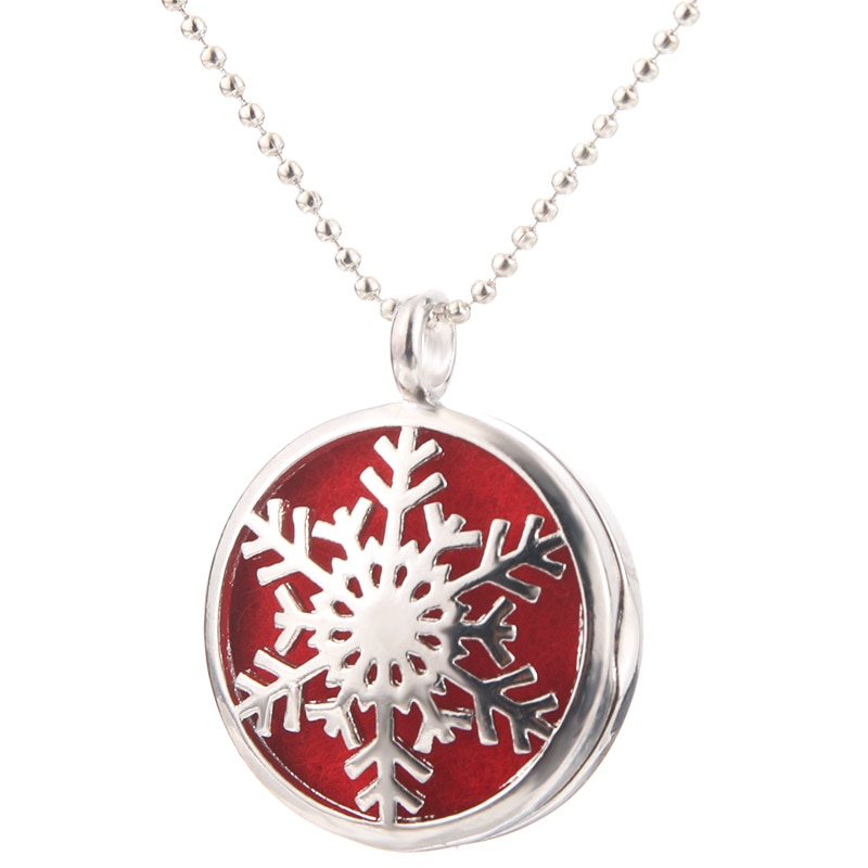 Beautiful Snowflake Aromatherapy Essential Oil Diffuser Necklace Fashion Perfume Locket Pendant Crea