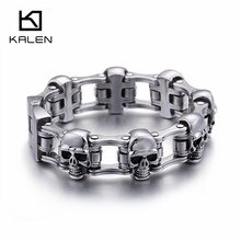 Kalen High Quality 23cm Stainless Steel Link Chian Bracelets Men Heavy Chunky Skull Head Charm Bracelet Punk Biker Jewel
