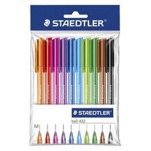 Staedtler 432 M Triangle Holder Ballpoint Pen 10 Multicolour Set Black/Pink/Red/Yellow/Orange/Purple Writing Supplies