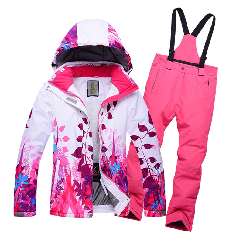 New outdoor children's winter ski wear 8-14 years old girl warm and windproof waterproof single double fleece ski jacket pants