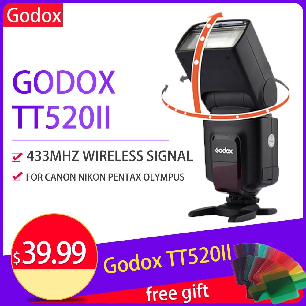 Godox tt520 ii flash lanterna para canon tt520ii sem fio para canon nikon pentax olympus dslr câmera flash sincronizador flitser
