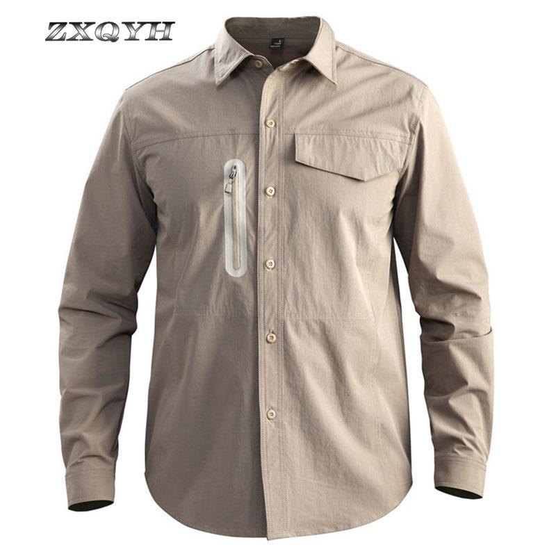 ZXQYH новые быстросохнущие мужские рубашки нейлоновые водонепроницаемые
