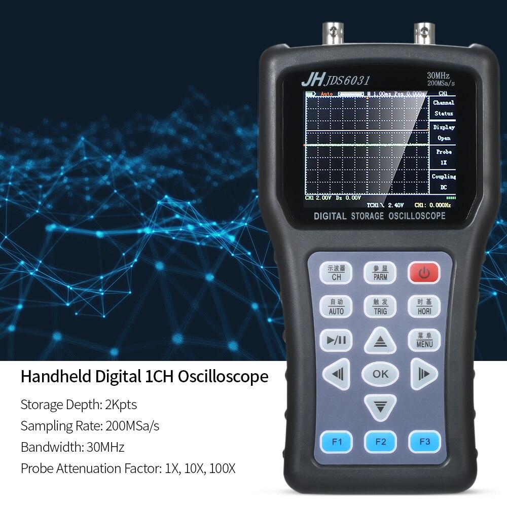 1CH JDS6031 Handheld Digital Oscilloscope Âmbito Medidor Portátil Digital Storage Oscilloscope 30MHz 200MSa/s