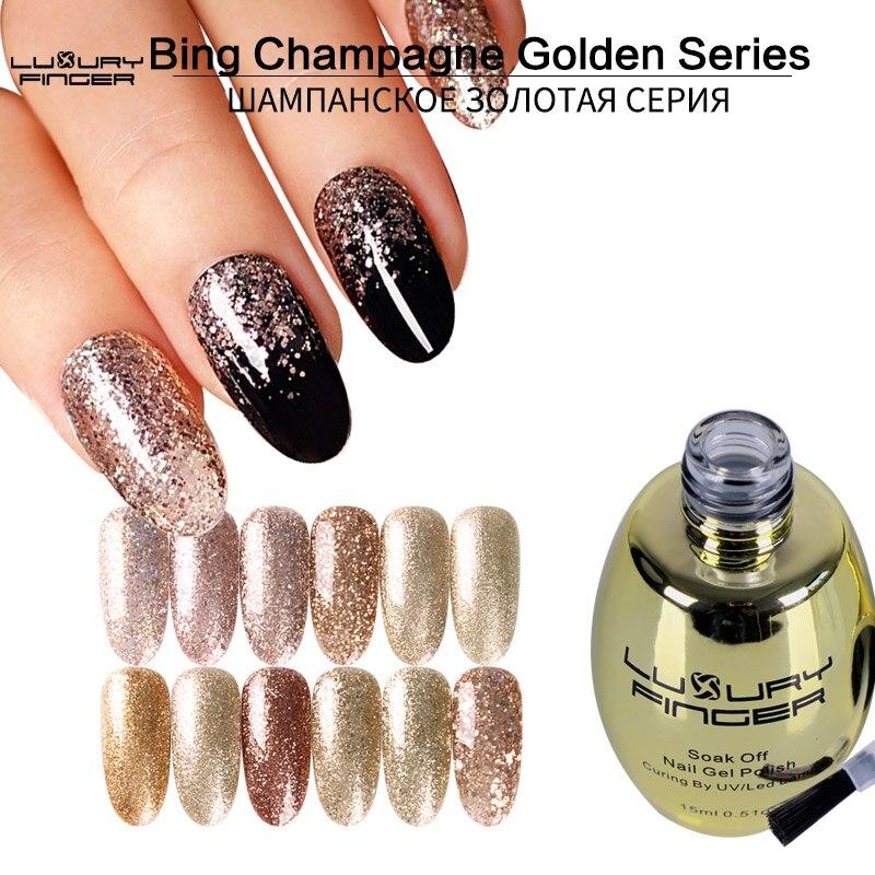 De Lujo dedo Bling lentejuelas champán doradas de uñas de Gel polaco barniz empapa Gel para uñas UV lacquer dorada de gradiente de Arte de uñas