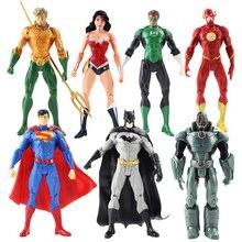7 unids/lote figuras de acción de la Liga de la justicia Superman Batman Flash aquamán Wonder Woman cybors verde modelo de linterna Juguetes