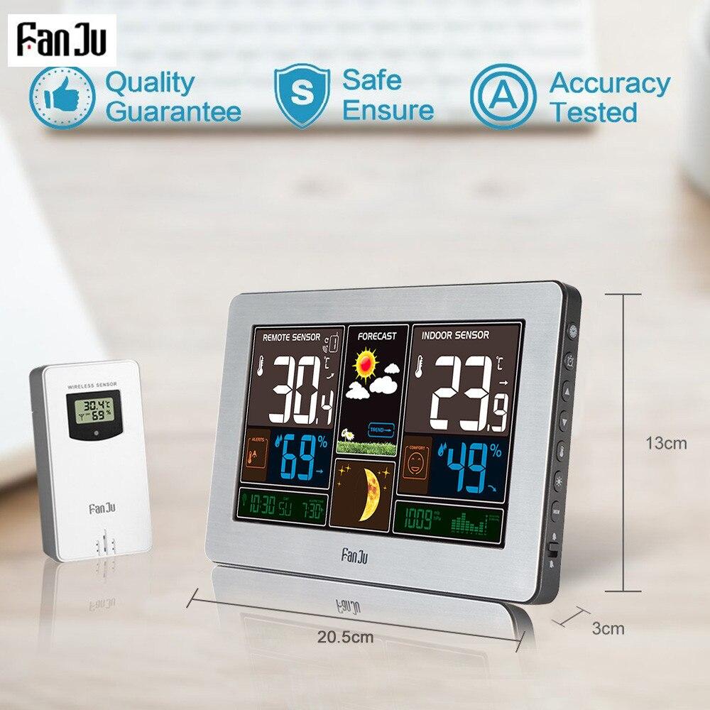 Погодная станция FanJu FJ3378, настенный барометр, прогноз температуры и влажности, беспроводной датчик, уличный гигрометр, USB зарядное устройство