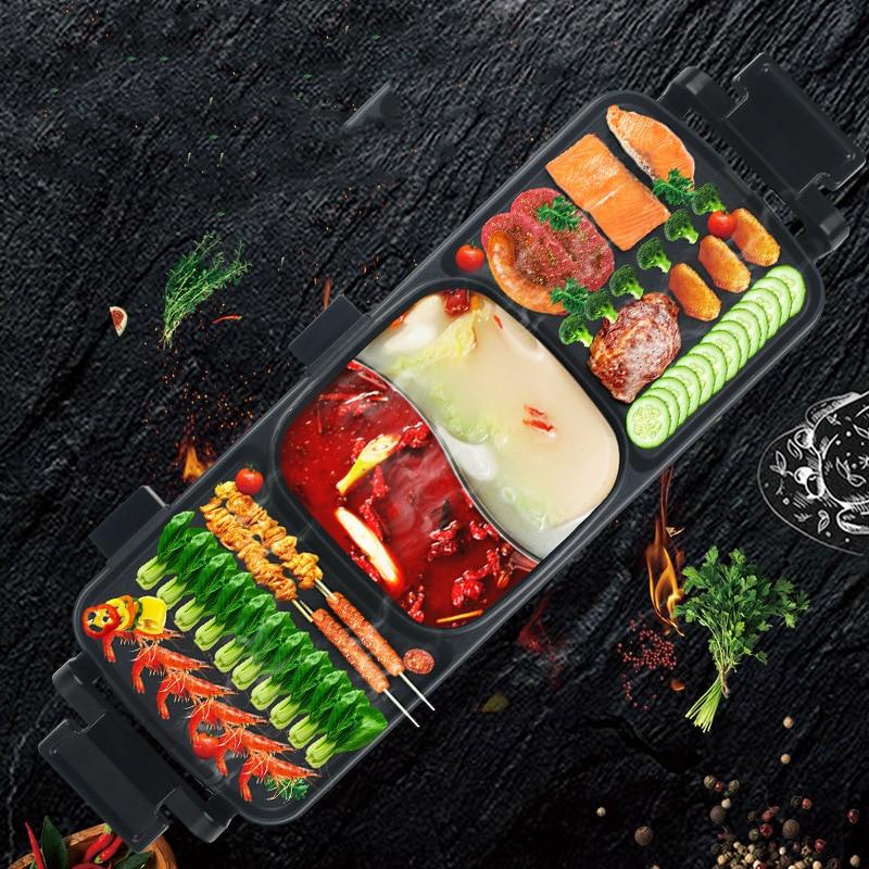 Churrasqueira Sem Fumaça elétrica Baking Pan Duplo-sabor Hotpot Multi-função Ferramentas de Chapa Plana Griddle Grill Indoor Hot pot