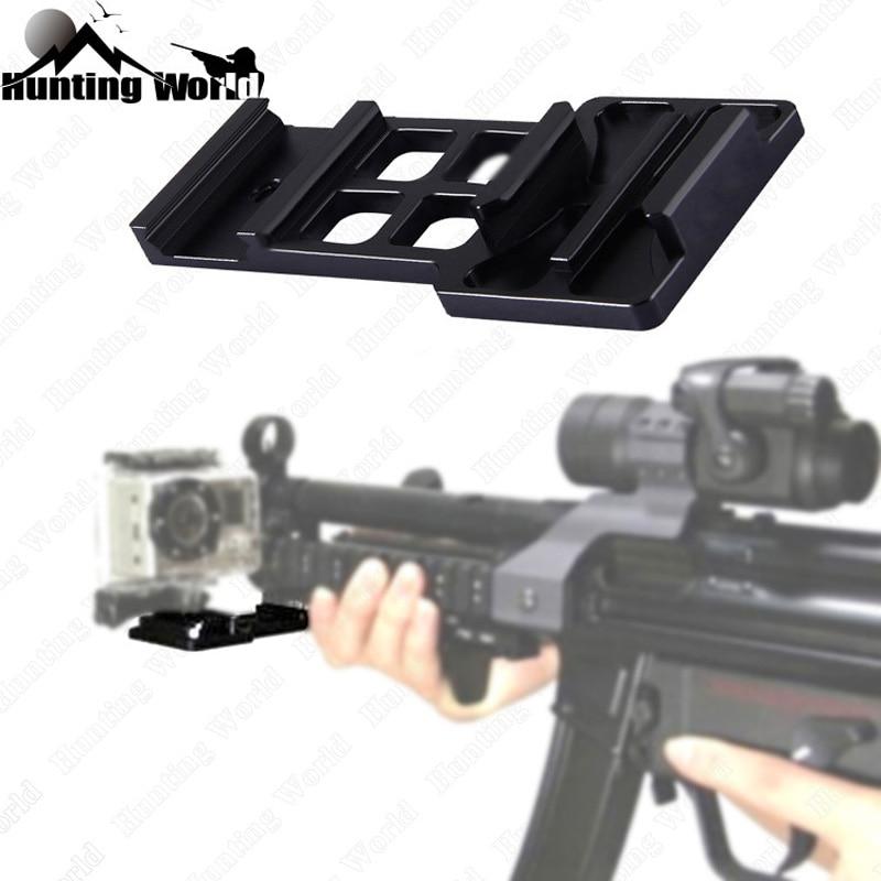 Tactical Black Aluminium Side Rail Mount Camera Bracket for Hunting Airsoft BB Guns Paint Ball fits 20mm Picatinny Rail Mount
