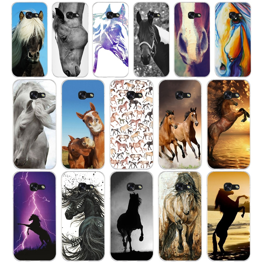 62AQ retrato de caballo cabeza de silicona suave de la cubierta del Tpu del teléfono funda para Samsung galaxy a3 a5 2016 2017 a6 A8 2018