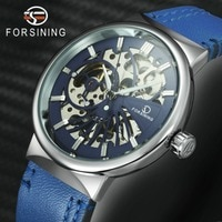 FORSINING 2019 חדש אופנה מזדמן אוטומטי מכאני שעונים גברים כחול עור רצועת Creative שלד חיוג ספורט זכר שעוני יד