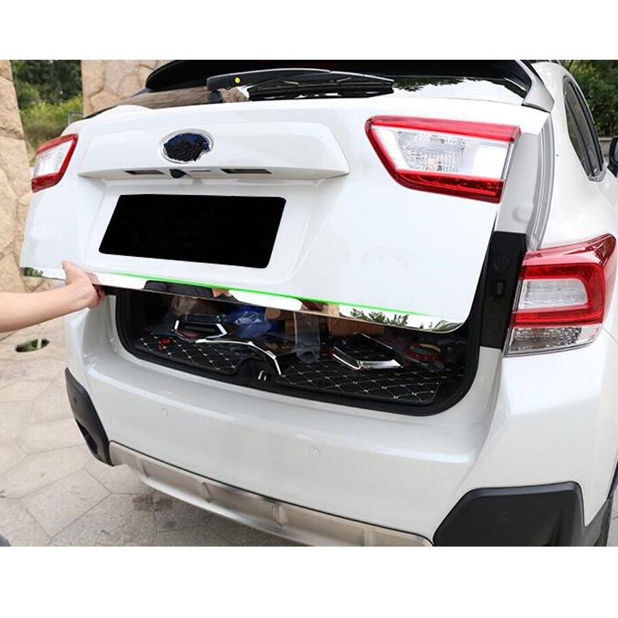 Cinta de estilismo para cámara, de acero inoxidable, para maletero trasero de coche, tapa para cámara Subaru XV 2018, calcomanía decorativa, accesorios