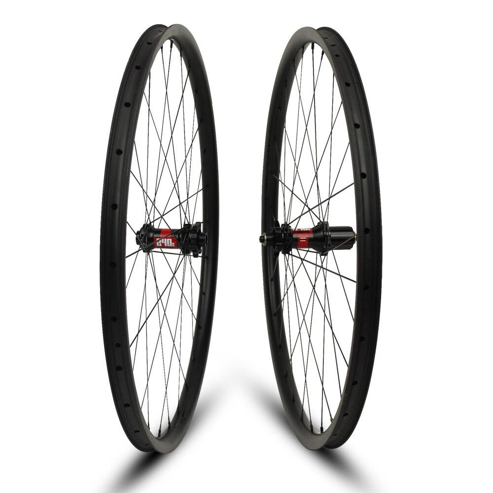 Ruedas de bicicleta de montaña 26er XC/AM/Enduro/DH llantas sin cámara de 24/35/40mm de ancho para bicicleta de montaña T700 fibra de carbono DT240S/350S Hub