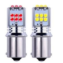 2 uds 1156 BA15S P21W R5W Super brillante 1800Lm LED Auto señal de giro reversa bombilla de freno luz diurna rojo Amarillo Blanco