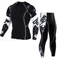 rashgard male compression suit mma clothing mens fitness set mens leggings mens t shirts kit base layer thermal underwear