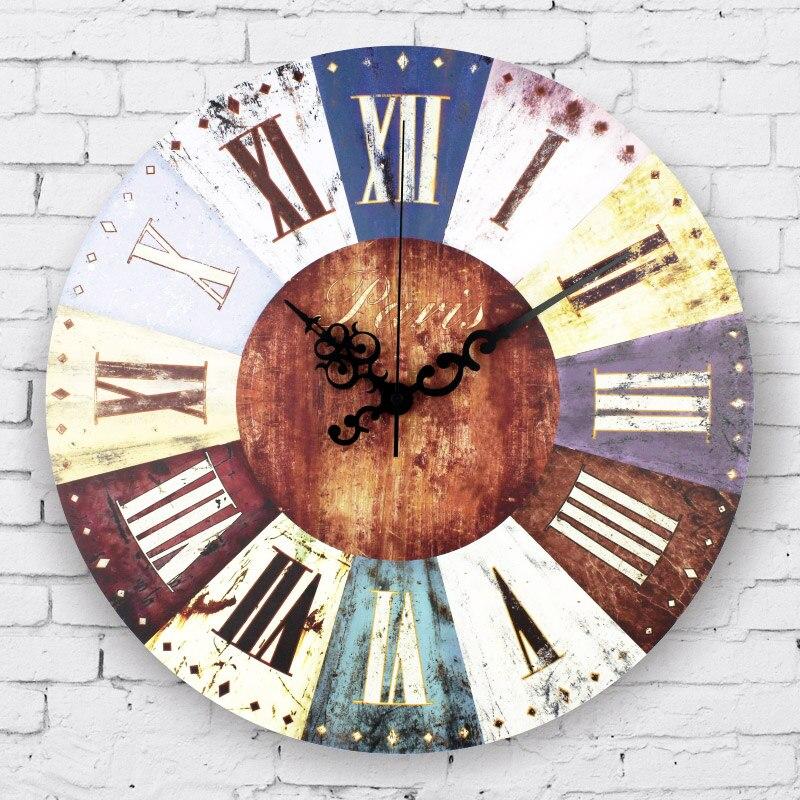 Venta al por mayor, reloj de pared grande vintage para decoración del hogar, números romanos, decoración de sala de estar congelada, reloj de pared, regalo, reloj de pared