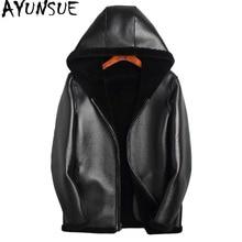 AYUNSUE Winter Jacket Men 100% Sheep Shearling Coats Double-sided Wear Jacket Mens Real Pure Natural Fur JacketsF-JSJ-LM01 MY720