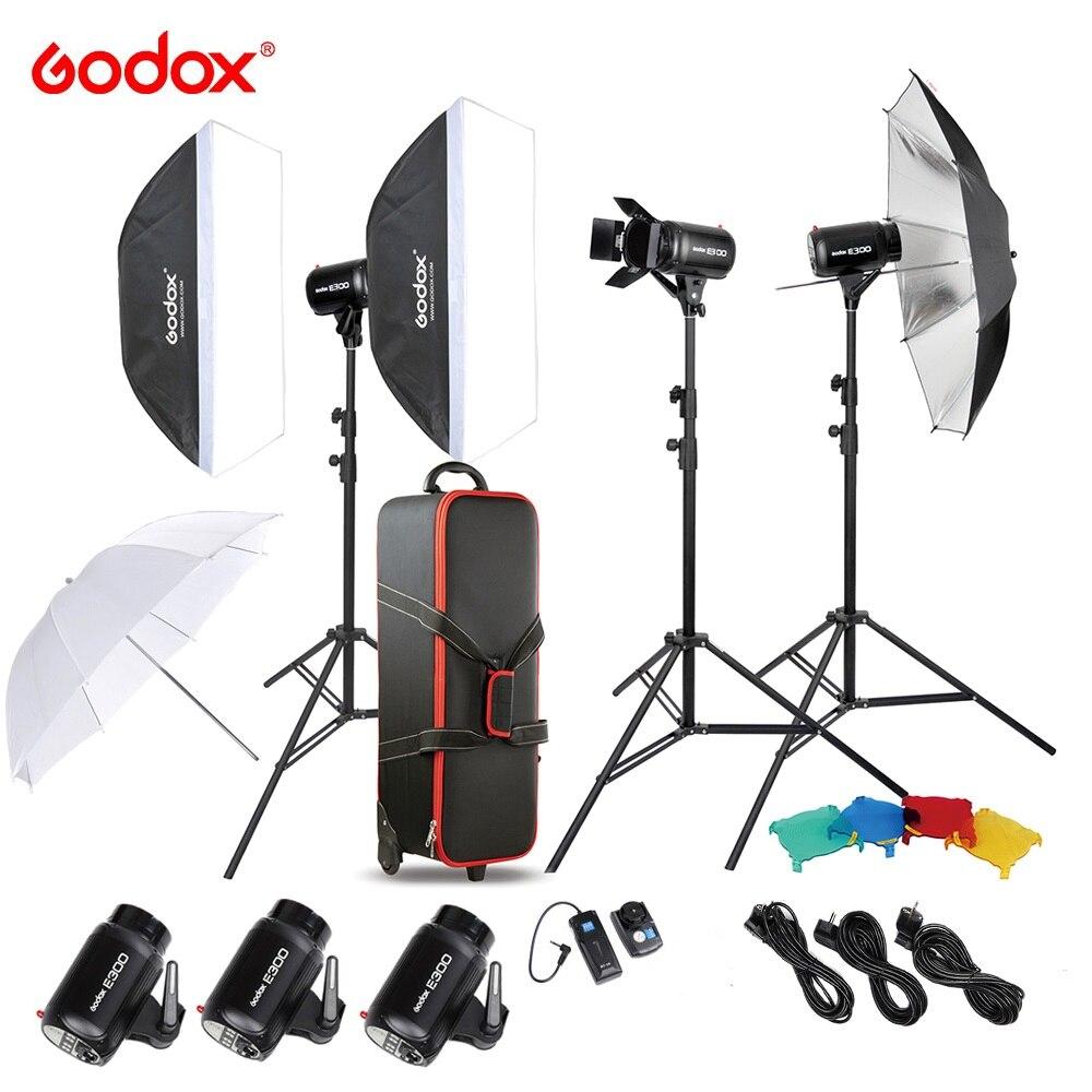 Оригинальная вспышка Godox для фотостудии, набор для освещения Speedlite с 300 Вт студийной вспышкой, стробоскопом, подставкой, софтбоксом, триггеро...