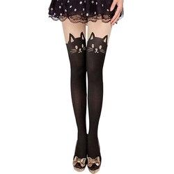 Nova menina sexy pantyhose design padrão impresso tatuagem meias forma de gato sheer meia-calça simulado meias collants