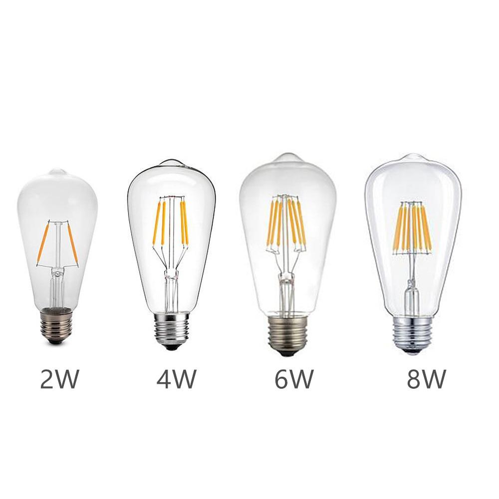 LED Blub E27 AC220V ST64 Retro Edison Filament Lamp Warm/Cold White 2W/4W/6W/8W Clear Glass Shell 360 Degree Angle Lighting