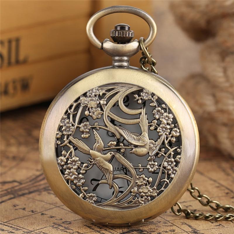 Reloj de bolsillo chino Retro animado hueco Floral Magpie tallado colgante cadena Masculino Femenino reloj buena suerte signo regalos para mejores amigos