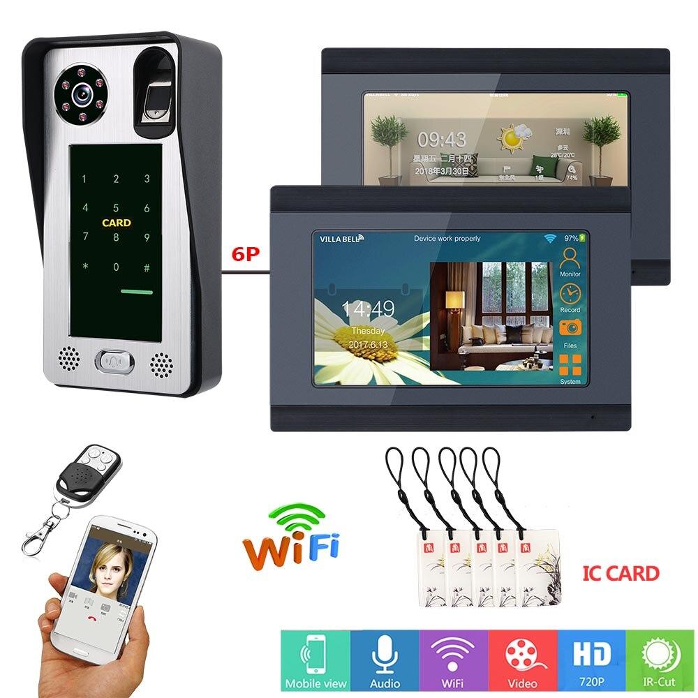 Timbre con WIFI de 7 pulgadas, tarjeta IC, contraseña, huella dactilar, Monitor 1V2, Control de acceso, vídeo, teléfono de puerta