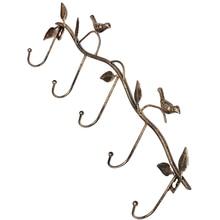Iron Birds Leaves Hat/Towel/Coat Wall Decor Clothes Hangers Racks With 5 Hooks bronze