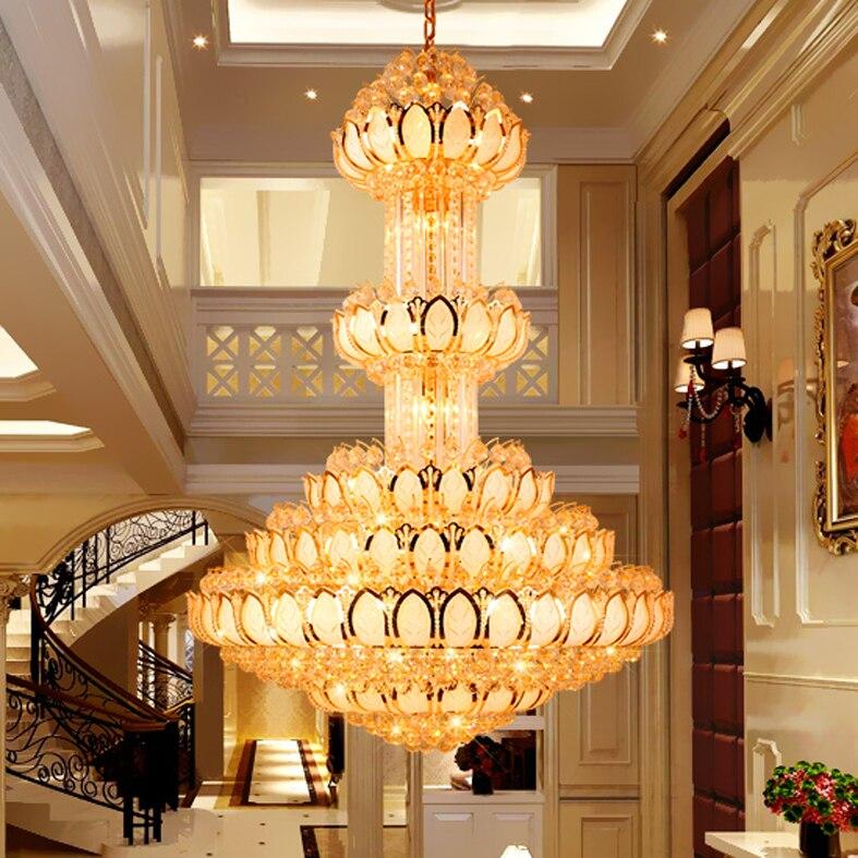 لوتس-ثريا كريستال LED طويلة وكبيرة ، مصباح سقف معلق من الكريستال الذهبي ، مثالي للفيلا أو الفندق أو الردهة.