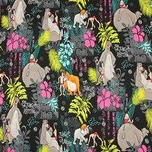 140cm Width The Gungle Book Black Cotton Fabric for Boy Clothes Bedding Set Hometextile Curtain Cushion Cover DIY-BK509