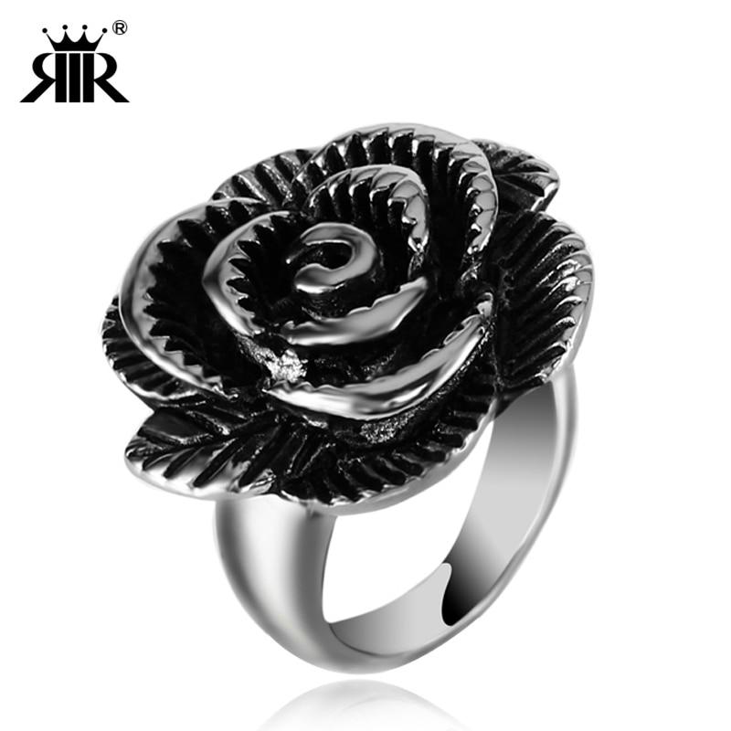 Rir novo chegou feminino anel de aço inoxidável na moda simples feminino jóias senhoras rosa flor fantasia anéis para festa & presentes