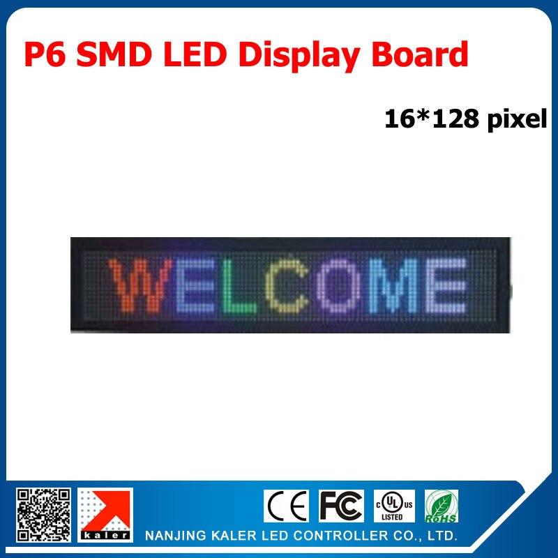 kaler Indoor full color P6 smd rgb led panel 96*192mm programmable message indoor advertising led display board 96*768mm