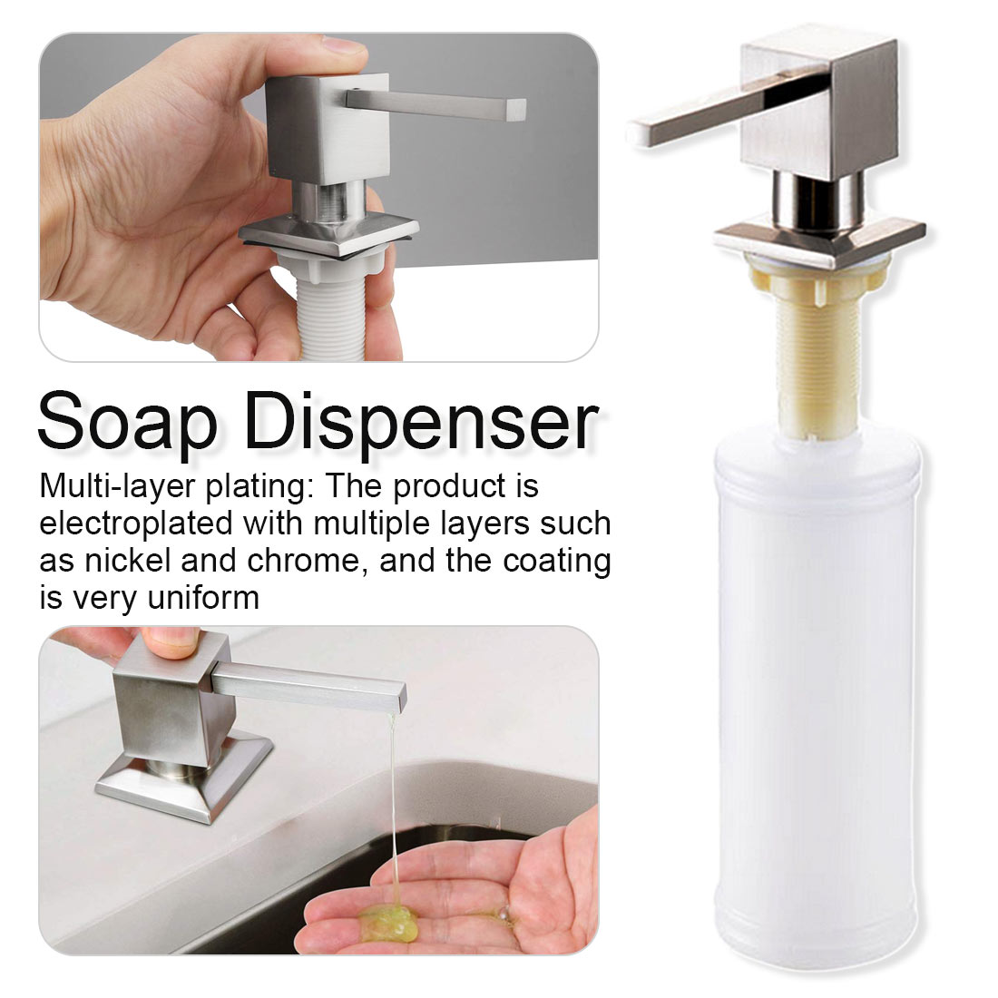 300ML Stainless Steel Liquid Soap Dispenser Deck Mounted Kitchen Soap Dispensers Built in Square Soap Dispenser Pump
