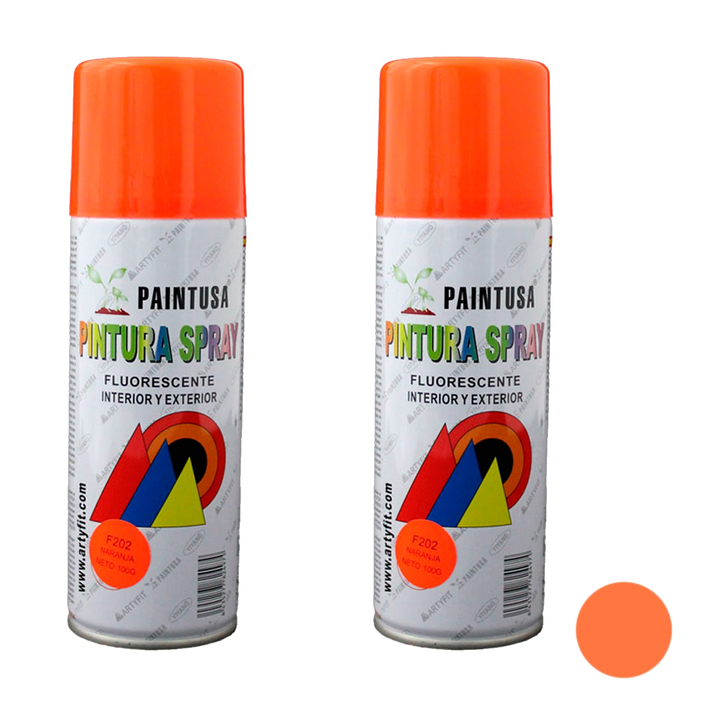 Paintusa-pack 2 F202 latas de spray de tinta Fluorescente Laranja 200 ml