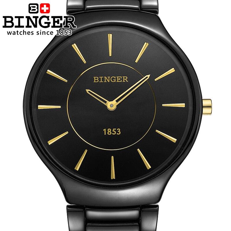 Marca de Luxo Relógios de Pulso Resistência à Água Suíça Binger Espaço Cerâmica Quartzo Relógio Masculino Amantes Estilo 300 m B8006b-4
