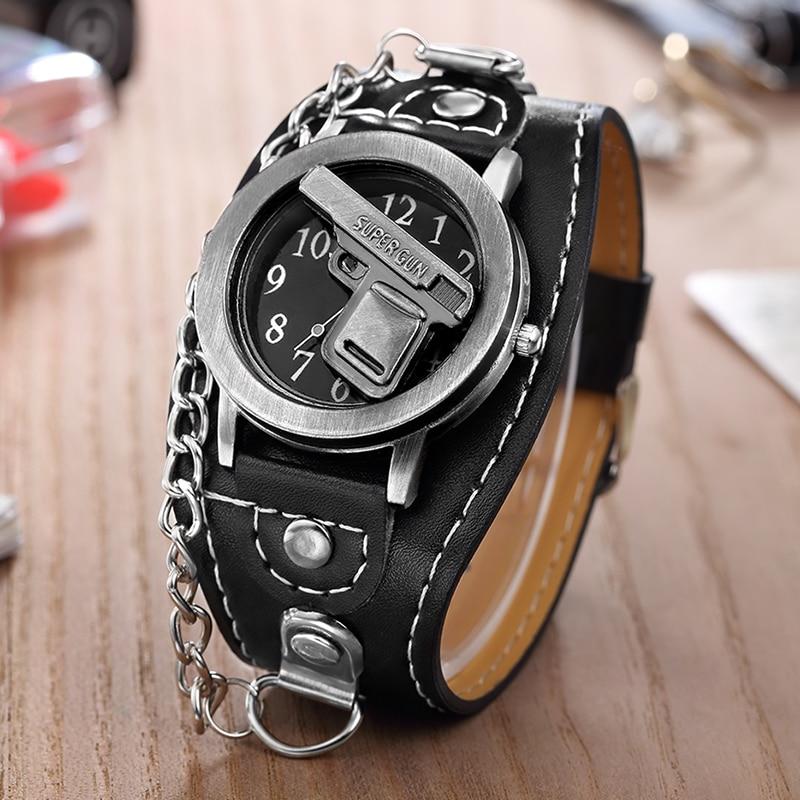 Hot Sales O.T.SEA Brand Gun Skull Leather Watches Luxury Men Women Punk Sports Quartz Wrist Watch Orologio Uomo 1831-7