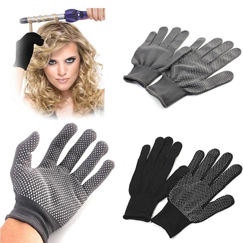 1Pair Hair Straightener Perm Curling Hairdressing Heat Resistant Finger Gloves 2 Colors
