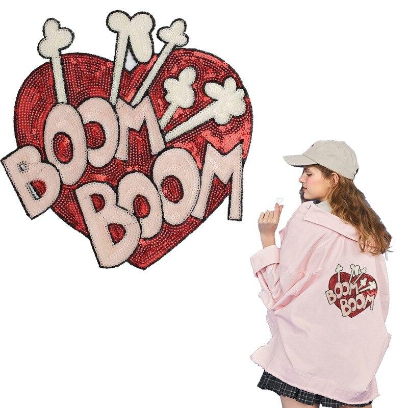 Parche Sweet BOOM corazón rojo cosido en lentejuela grande parche para ropa apliques rayas en ropa regalo del Día de San Valentín feliz