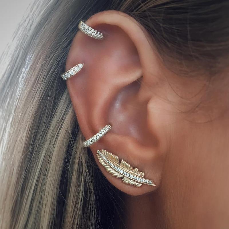 New Korean Fashion Pop Earrings Women's Leaves Earmuffs Cover Big Street Shoot Gold Personality Earrings Wholesale