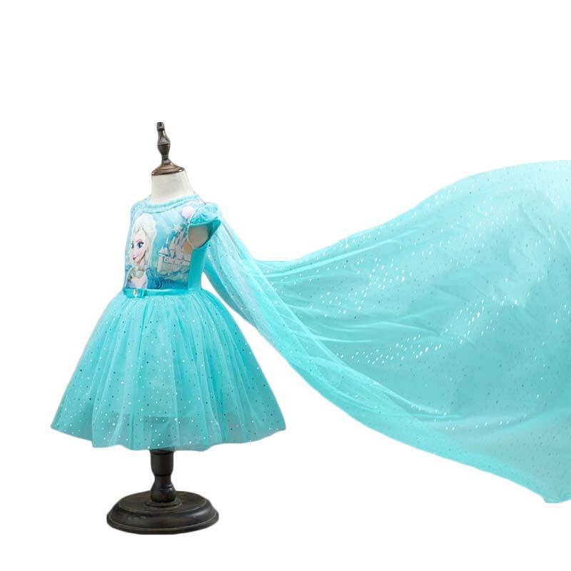 2020 nova anna elsa vestido crianças princesa festa traje cosplay neve rainha fantasia do bebê meninas vestidos + capa infantil
