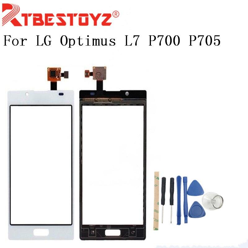 "RTBESTOYZ alta calidad de 4,3 ""para LG Optimus L7 P700 P705 P708 digitalizador de pantalla táctil Sensor de Lentes de vidrio exterior Panel blanco y Negro"