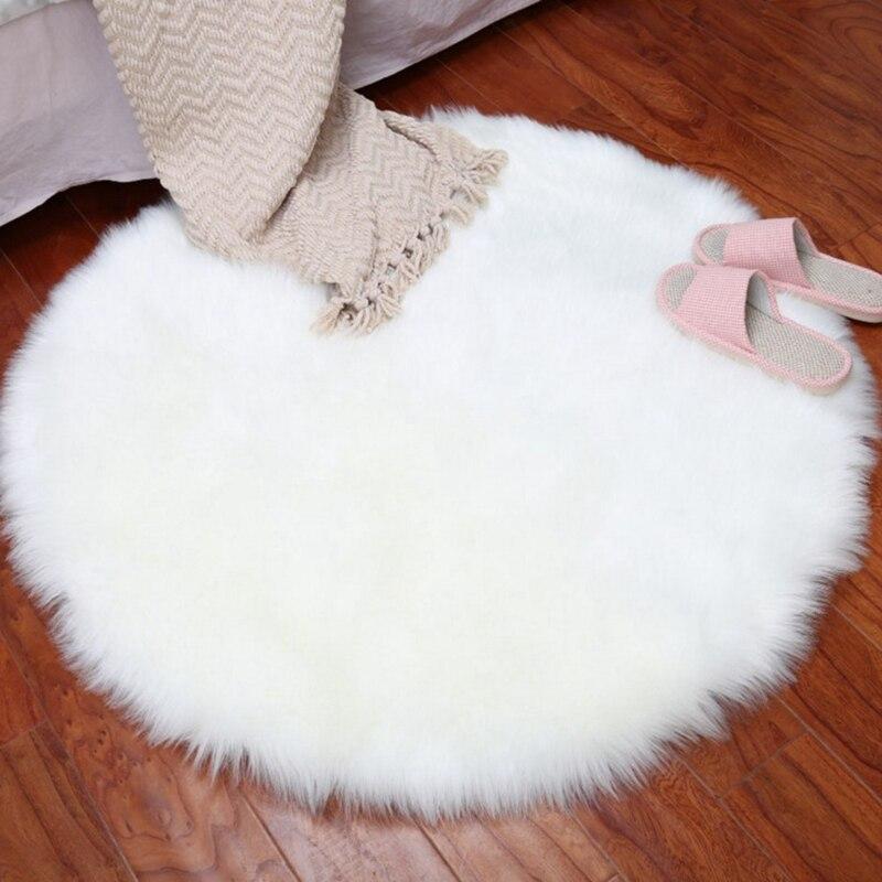 De lana Artificial peluda alfombra blanco de piel alfombras para niños habitación niños dormitorio piso Mat Oficina silla Tapete largo suave Faux Fur alfombras