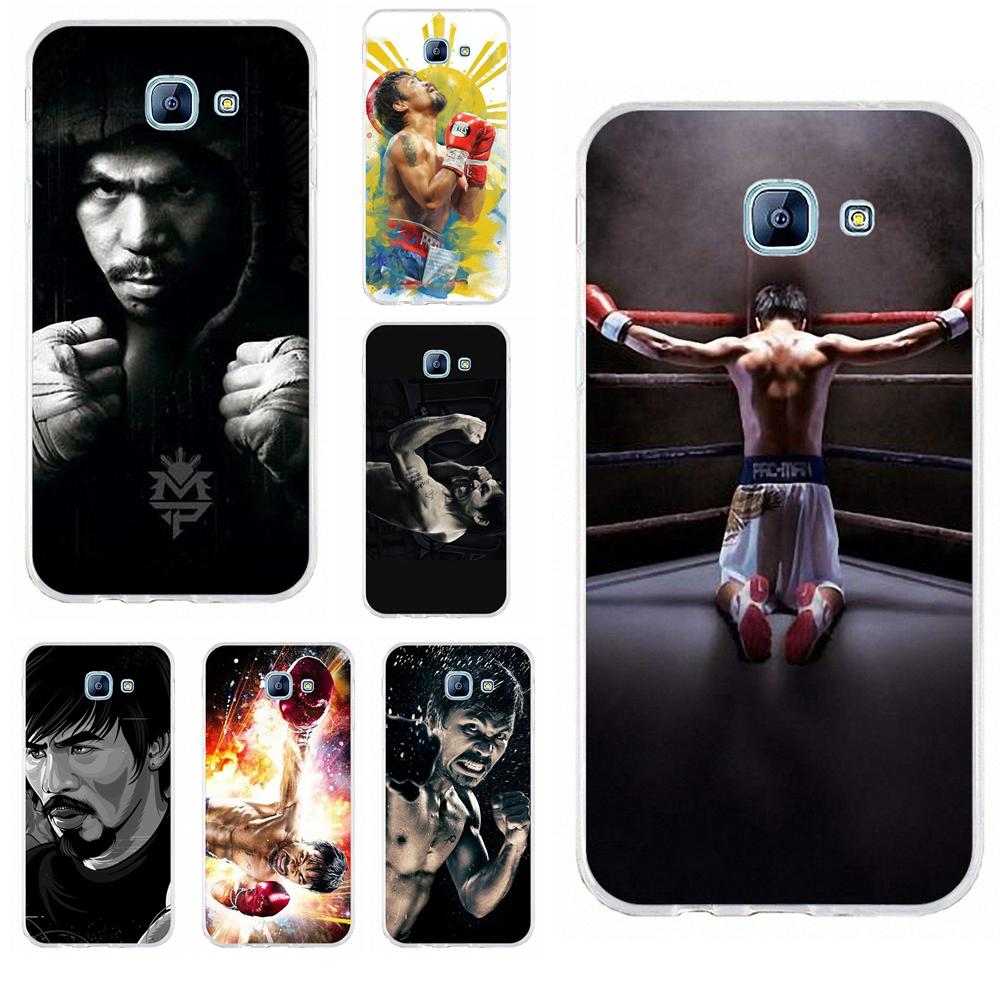Perciron para Samsung Galaxy A3 A5 A7 J1 J2 J3 J5 J7 2015 2016 2017 TPU suave cubierta del teléfono celular Manny Pacquiao Pac Man