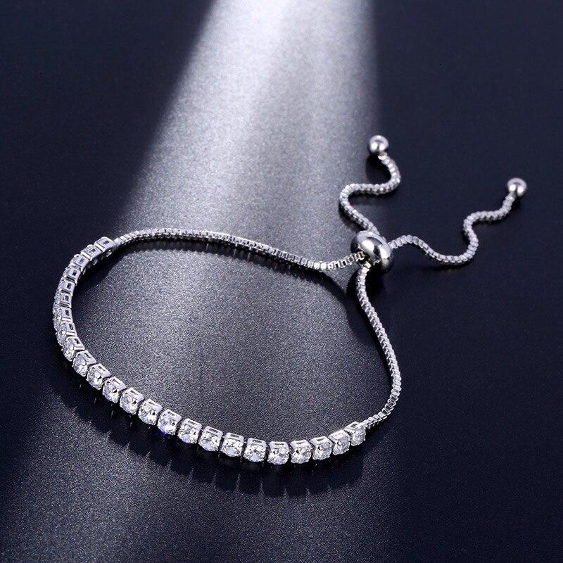 Nuevas pulseras y brazaletes ajustables de cristal de Zirconia cúbica de moda para fiesta de boda para mujer, joyería de amistad, regalo de cumpleaños para mujer