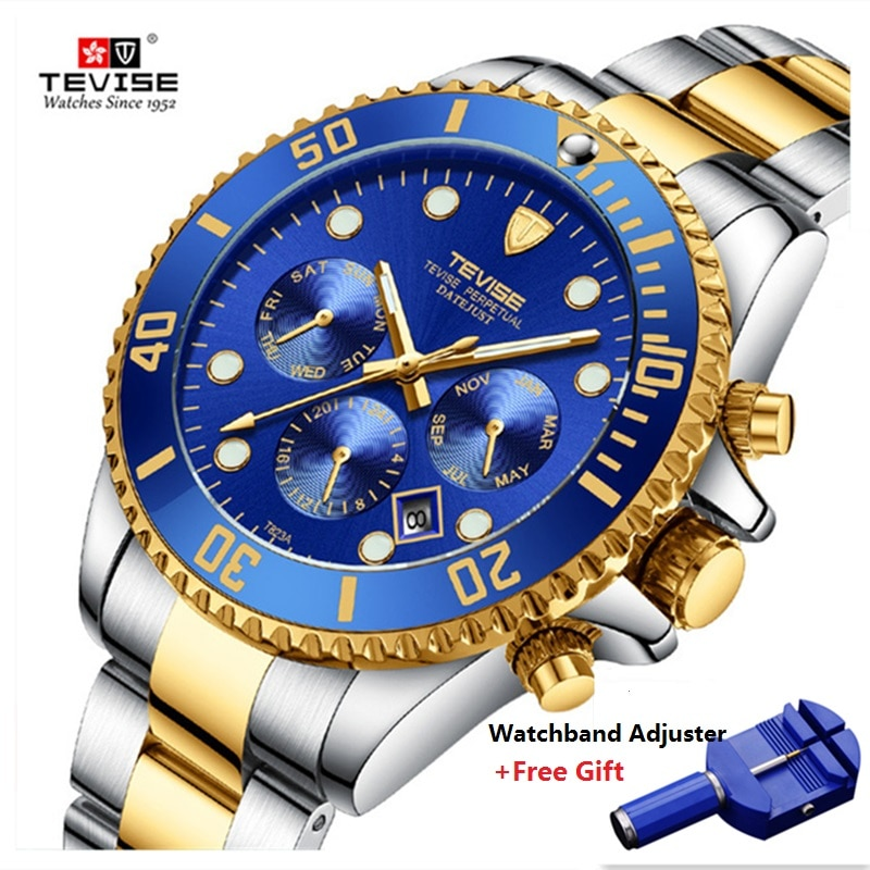 Hot TEVISE Watch Men Luxury Automatic Mechanical Mens Wristwatch Stainless Steel Waterproof Military