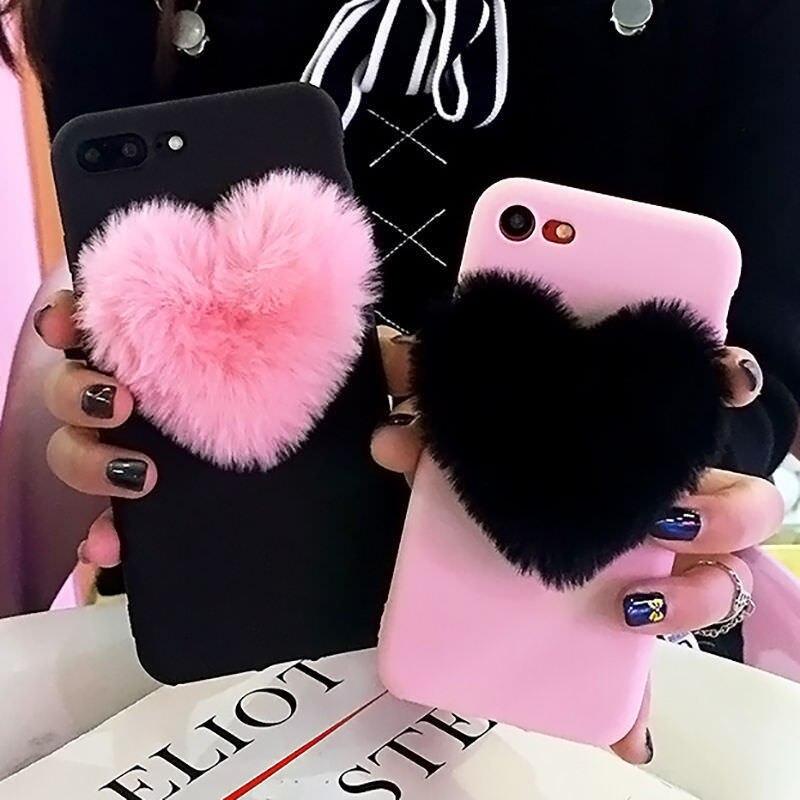 3D peludo amor corazones lindo cabello funda de teléfono para Xiaomi Mi CC9 CC9E 9 SE 8 LITE A3 A1 A2 para Redmi 6A 7A 8A Nota 6 7 8 PRO