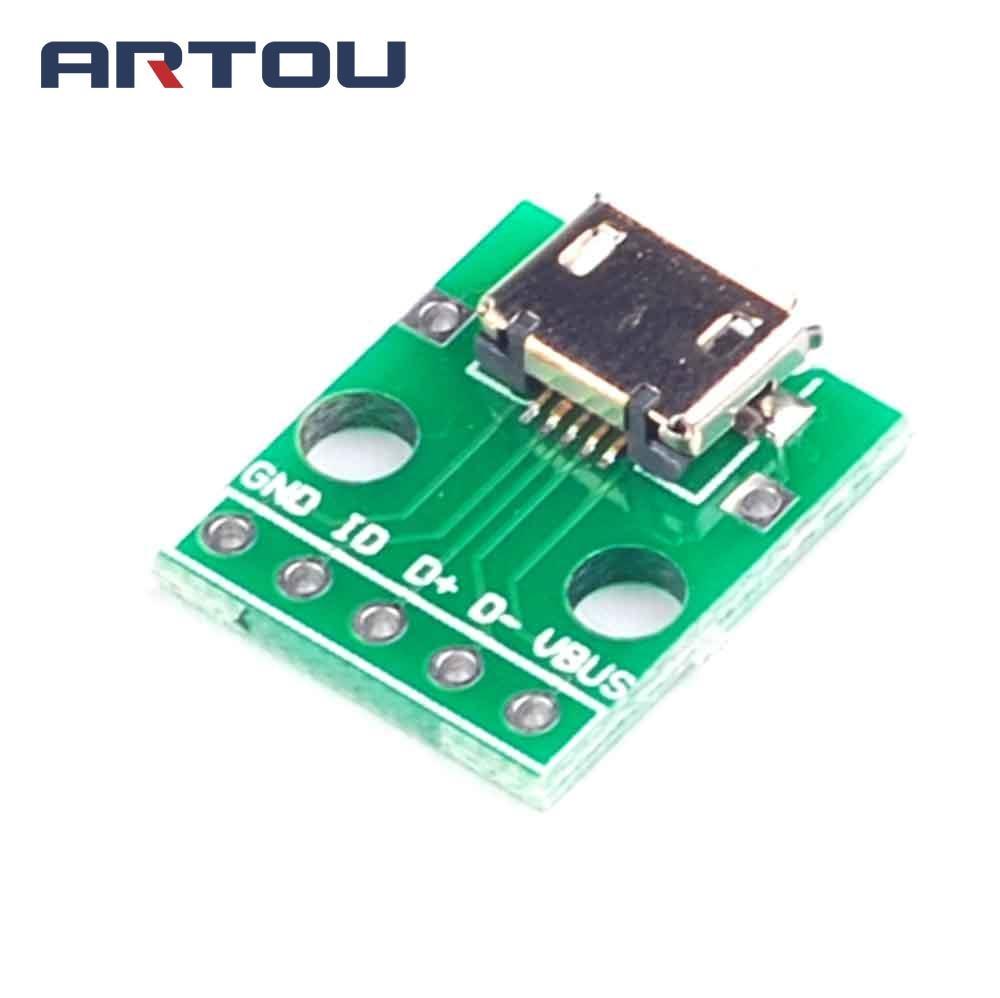 5 pièces Micro USB à DIP adaptateur connecteur Module panneau panneau femelle 5 broches Pinboard 2.54mm Micro USB PCB